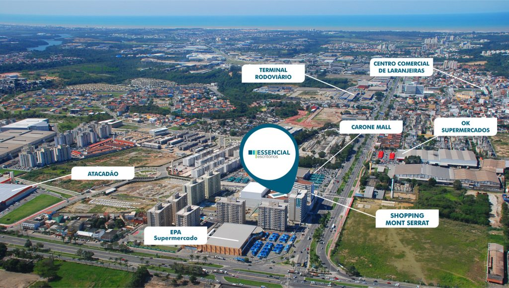 Localização do Essencial Escritórios, em Colina de Laranjeiras, Serra, ilustra post sobre como escolher uma sala comercial, do blog da Morar Construtora