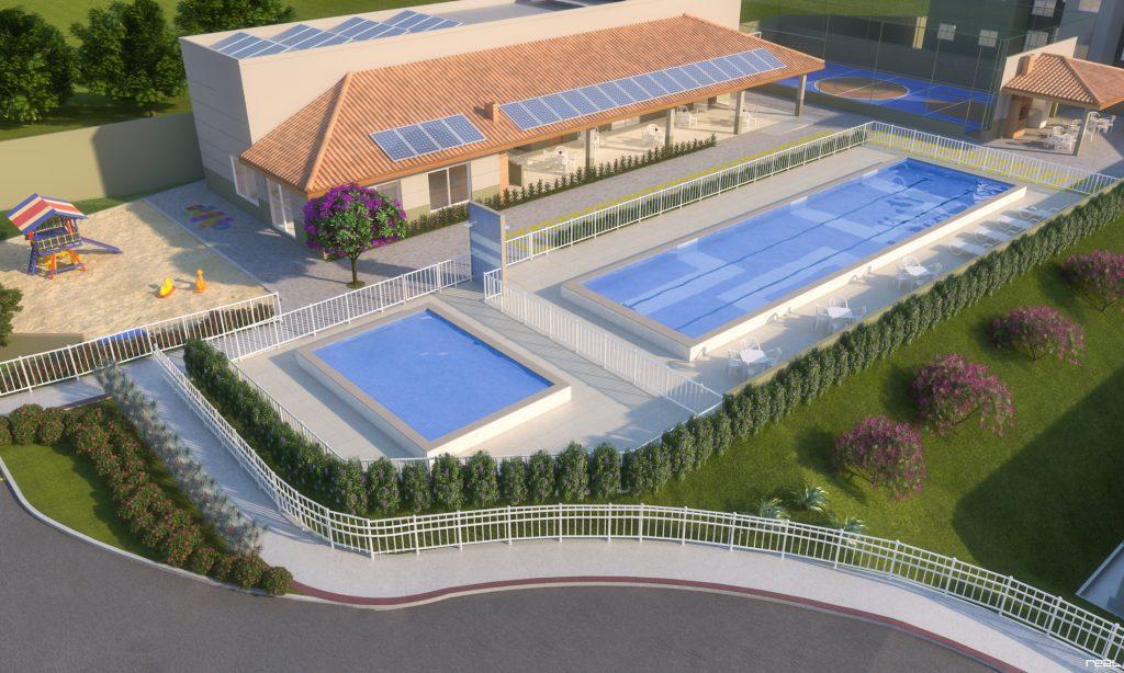 Perspectiva de como ficará a área de lazer do condomínio-clube Vista do Horizonte