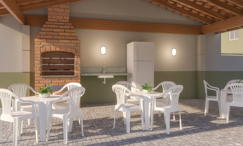 Perspectiva do quiosque com churrasqueira do condomínio-clube Vista do Horizonte, em Jardim Limoeiro.